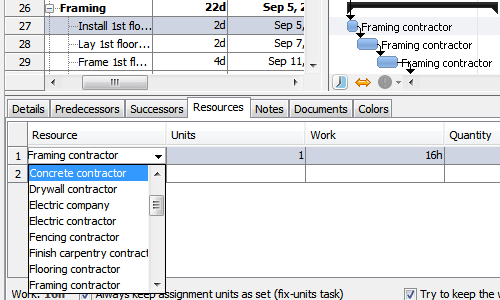 Assign resources to tasks in RationalPlan Multi