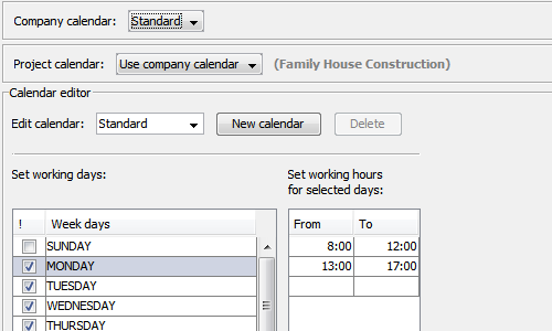 Project working calendars in RationalPlan Multi