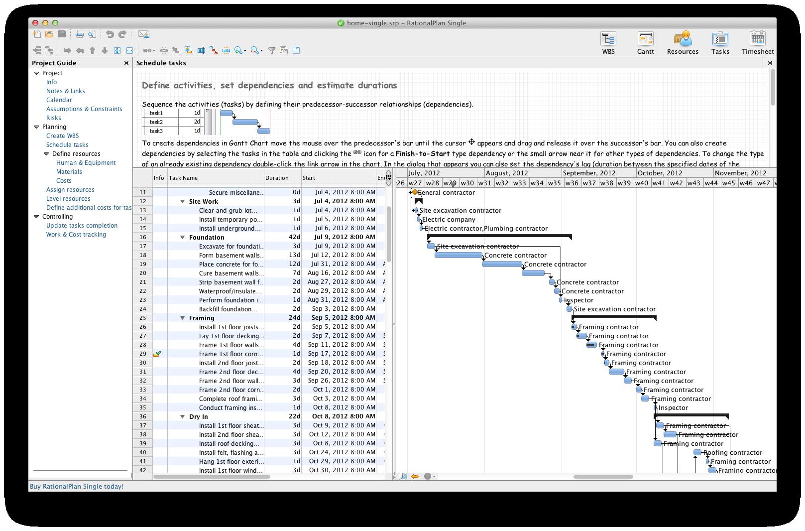 RationalPlan Single Project for Mac full screenshot