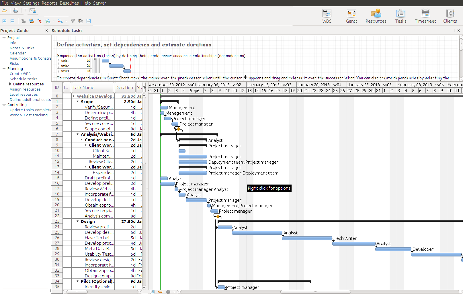 RationalPlan Project Viewer for Linux Screenshot