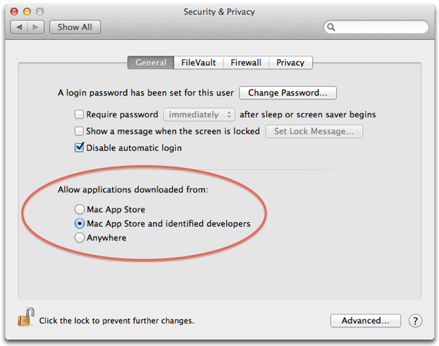 Mac OS X Mountain Lion Gatekeeper settings